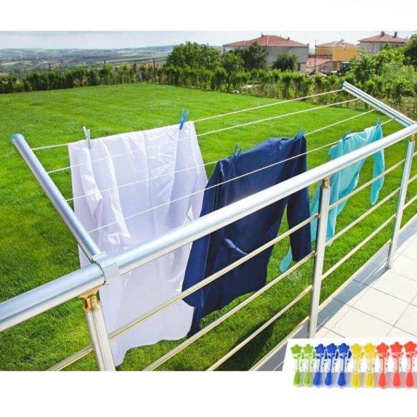Pratik Balkon Çamaşır Kurutma Askılığı - Alüminyum Katlanır Askı