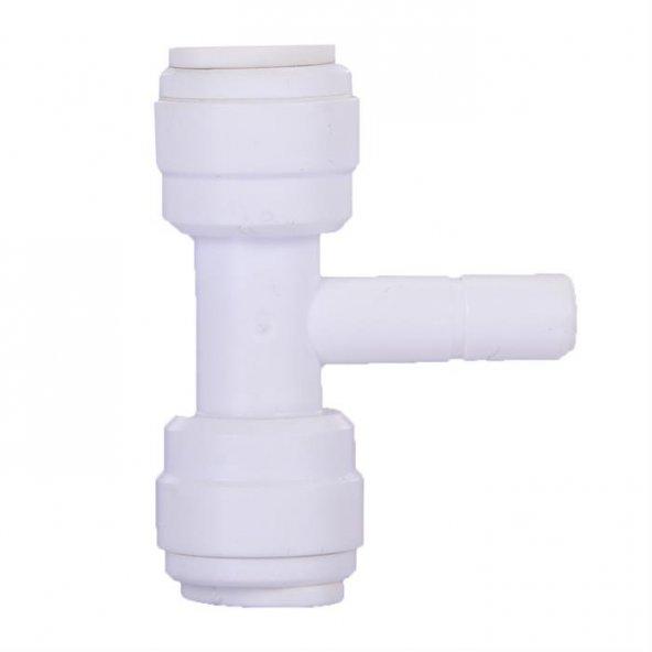 Su Arıtma T Filtre Bağlantı Nipeli 1/4 inç Quick 1/4 inç Boru
