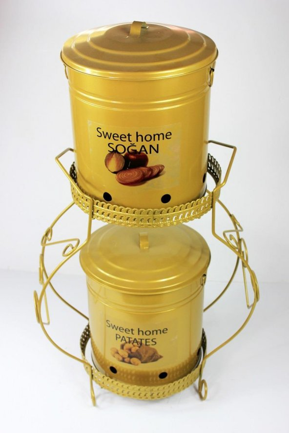 2li Standlı Ferforje Altın Patates Soğan Saklama Kutusu