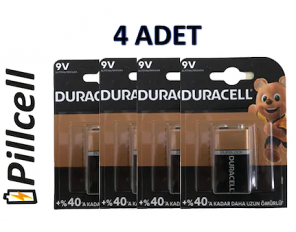 Duracell 9 Volt Alkaline Pil * 4 Adet
