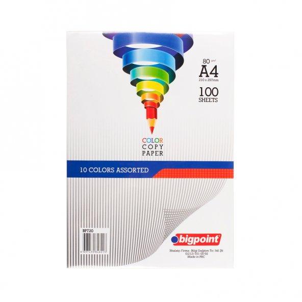Bigpoint A4 Renkli Fotokopi Kağıdı 10 Renk 100lü Paket