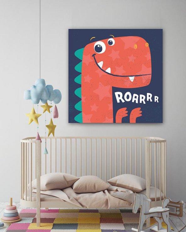 Sevimli Dinazor Çocuk Odası Kanvas Tablo