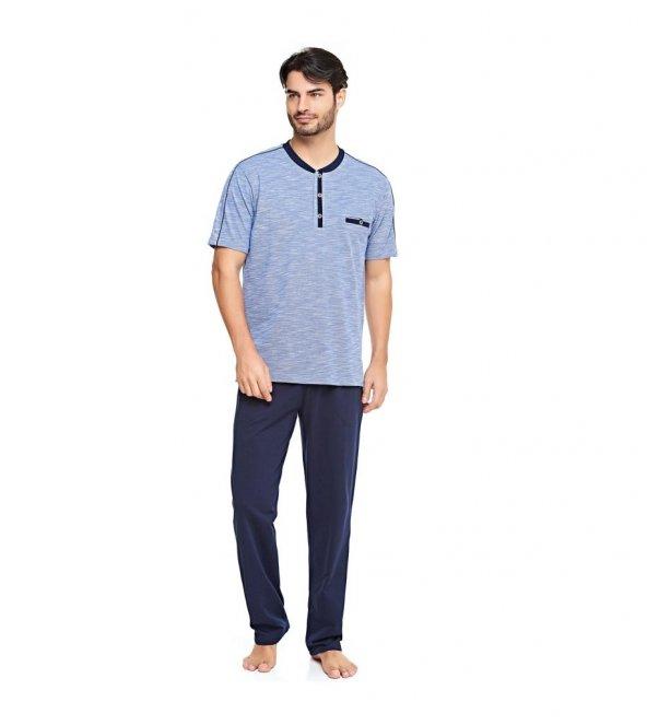 Çift Kaplan 8040 İki İplik Penye 100 Pamuk Erkek Pijama Takım