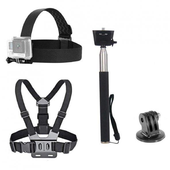 Aksiyon Kameralar için Göğüs Askısı Kafa Bandı Monopod Seti