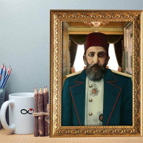 Altın Yaldız Çerçeveli A4 Sultan Abdülhamid Han Tablosu - 1