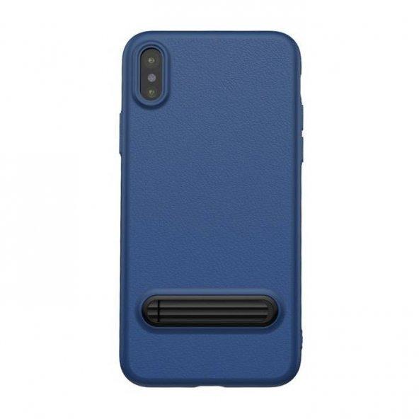 Baseus Kickstand iPhone X Lacivert Kılıf Arka Koruyucu Kapak