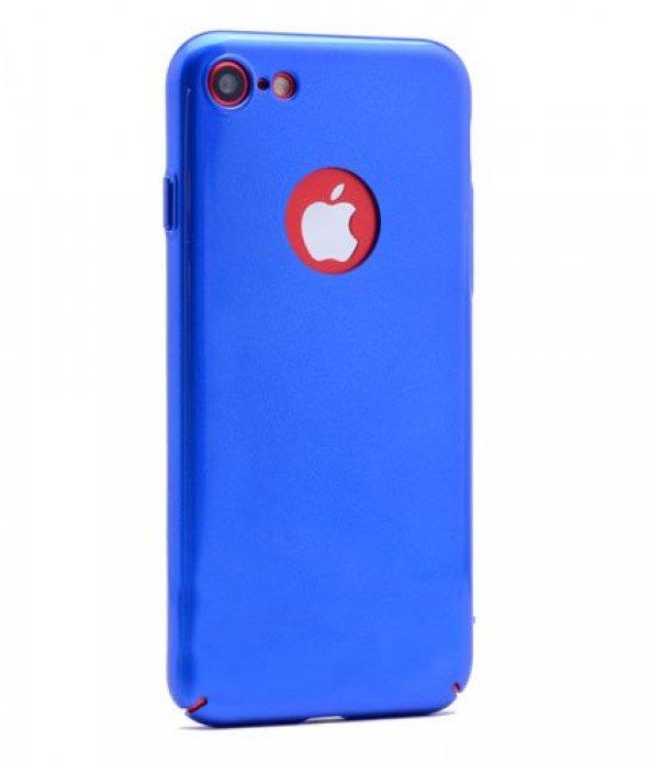 iPhone Se Kılıf Cherry Düğme Korumalı Arka Kapak Mavi + Kırılmaz Cam Ekran Koruyucu