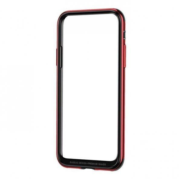 Baseus Bumper Apple iPhone X Kırmızı Alüminyum Kılıf Arka Koruyucu Kapak