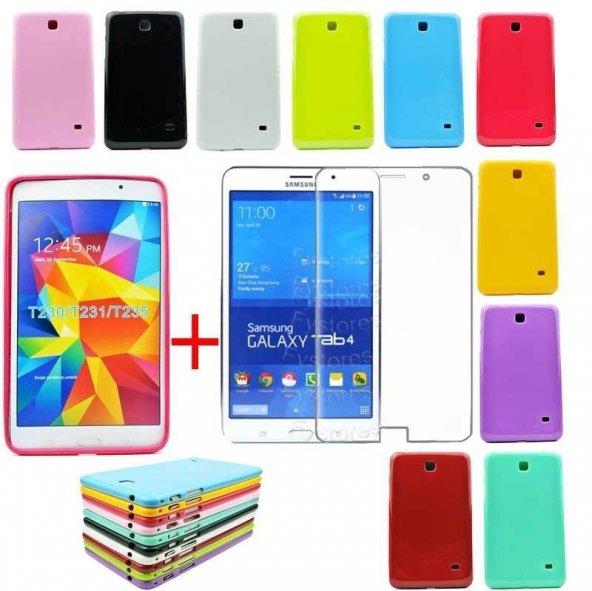 Samsung Galaxy Tab 4 T280 Kılıf Silikon Kapak + Ekran Koruyucu Film Jelatin