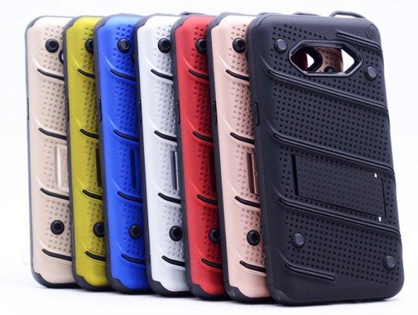 Samsung Galaxy J5 2016 (J510) Kılıf Shock Standlı Kapak + Kırılmaz Cam Ekran Koruyucu