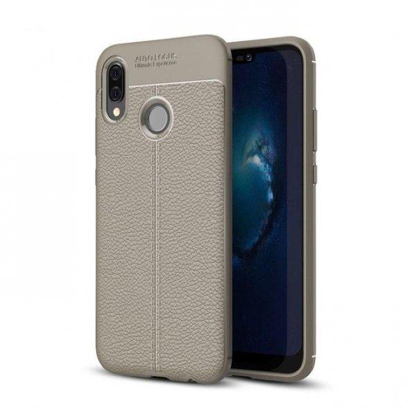 Huawei P20 Pro Karbon Deri Görünümlü Gri Kılıf Arka Koruyucu Kapak