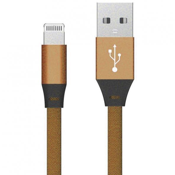 Apple iPhone 5s SE 6s 7 8 Plus X XS Max Hızlı Şarj Kablosu 2A Yassı Kopmayan Lisanslı Data Kablo Gold