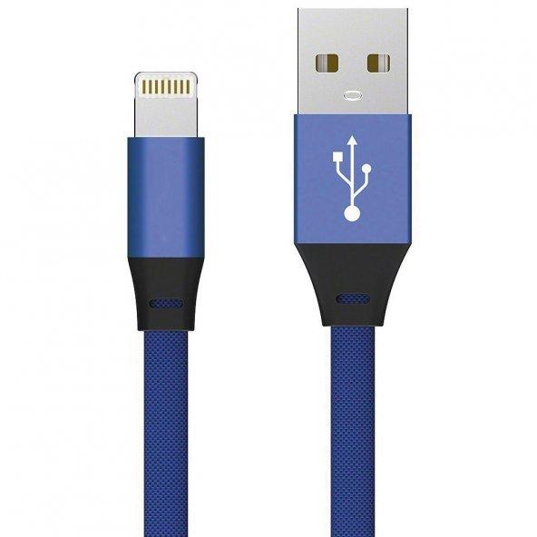 Apple iPhone 5s SE 6s 7 8 Plus X XS Max Hızlı Şarj Kablosu 2A Yassı Kopmayan Lisanslı Data Kablo Lacivert