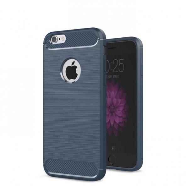 Apple iPhone 6 6S Karbon Army Room Silikon Kılıf Arka Koruyucu Kapak Lacivert