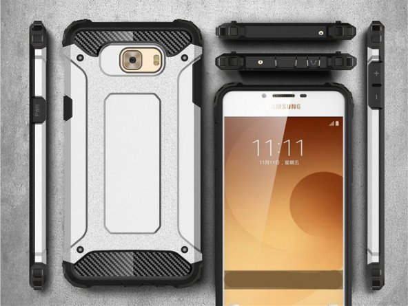 Samsung Galaxy C5 Pro Kılıf Crush Silikon Kap Kapak Gri + Ekran Koruyucu Temperli Cam