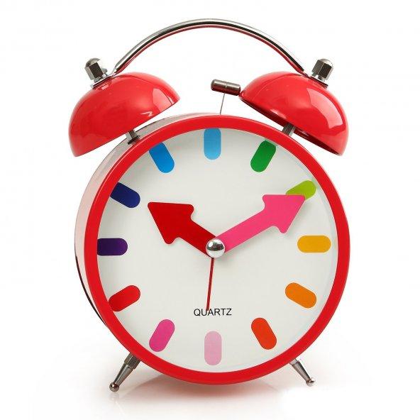 Kırmızı Renkli Metal Işıklı Zilli Alarmlı Çalar Masa Saati STM163