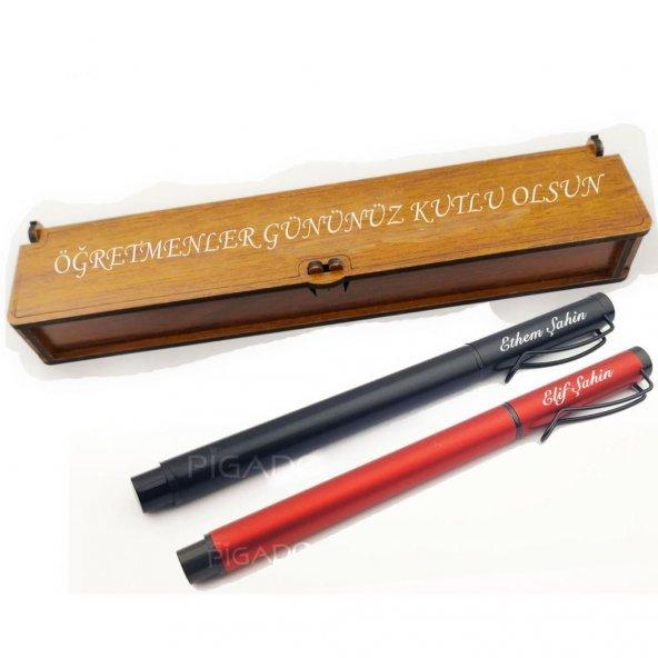İsme Kişiye Özel Ahşap Notlu Kutusunda Metal Roller Kalem