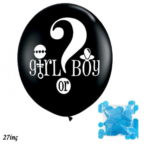 60cm Gırl Boy Lateks Cinsiyet Belirleme Balonu Siyah