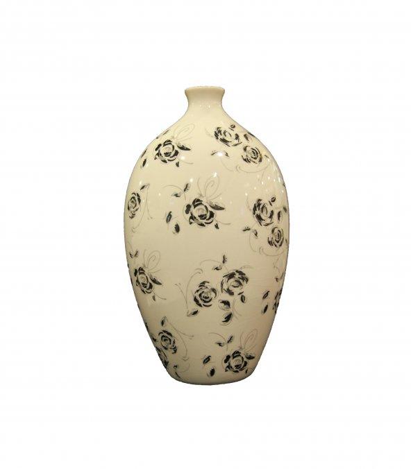 Evim Beyaz Siyah Gri Güllü Vazo