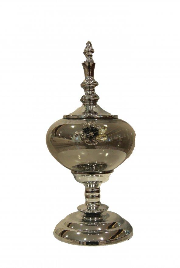 Lucky Art Gümüş Kapaklı Taş İşlemeli Silver Şekerlik