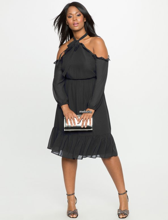 Melisita Trella Büyük Beden  Şifon Elbise