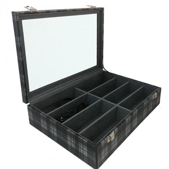 8li Gözlük kutusu gri ekose