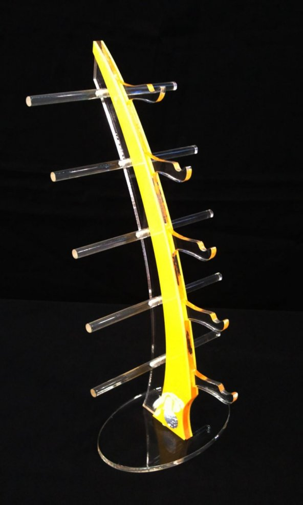 Pleksi Yelken Gözlük Standı Sarı