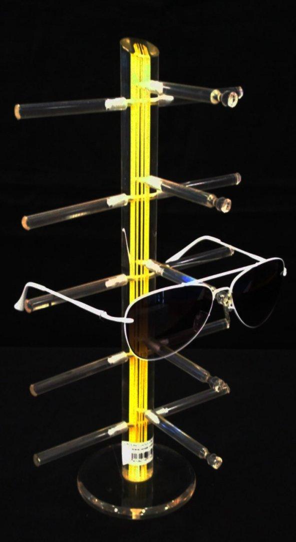 Pleksi Lazer Gözlük Standı Sarı
