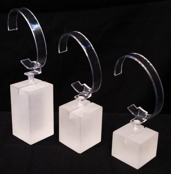 Pleksi Buzlu Takoz 3Lü Set Saat Standı