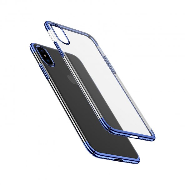 Baseus iPhone X Glitter Serisi Şeffaf Sert Arka Kapak Mavi + Ekran Koruyucu