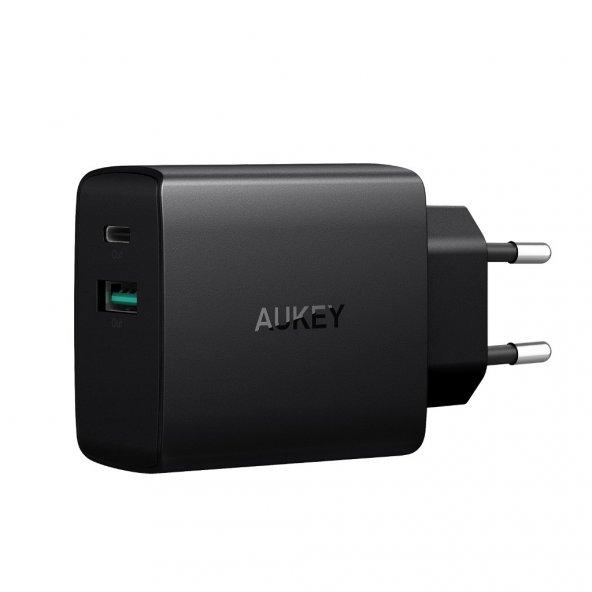 AUKEY PA-Y9 USB C 25,5W Hızlı Şarj İphone X,Samsung 8