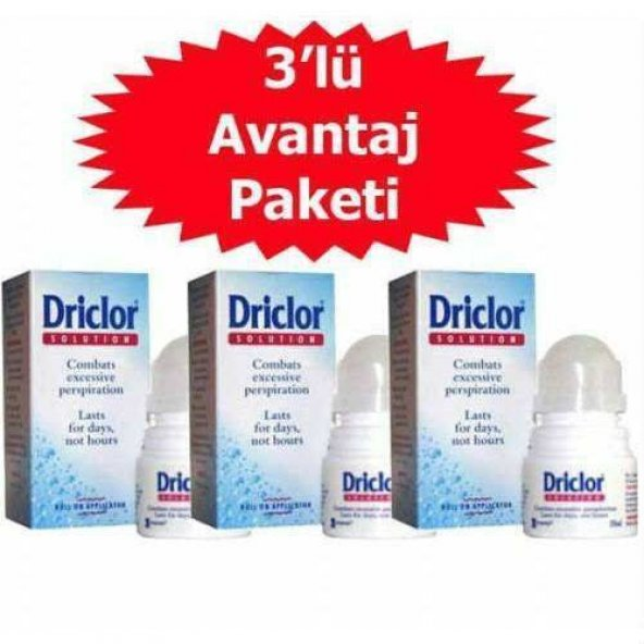 Driclor Anti-perspirant Roll-on 20 ml - 3 Adet