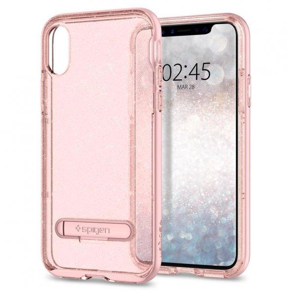 iPhone X Kılıf, Spigen Crystal Hybrid Glitter Rose Quartz