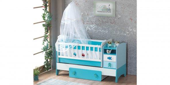 Beşik, Siro Bebek Odası, 60*120 Uzamalı Beşik (Mavi)