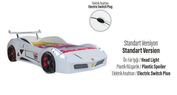 Araba Karyola, Turbo V7 Standart Araba Karyola(Beyaz-Kırmızı)