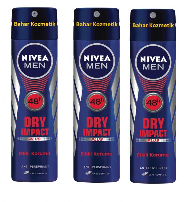 NIVEA MEN DRY IMPACT SPREY Anti-perspirant Koruma 3 Adet