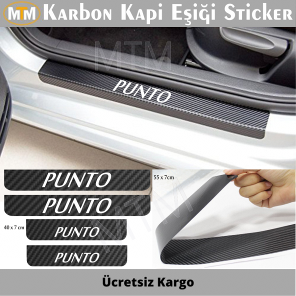 Fiat Punto  Karbon Kapı Eşiği Sticker (4 Adet)