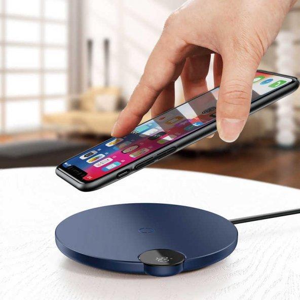 Baseus Digital Led Display Wireless Kablosuz Şarj Standı-Mavi