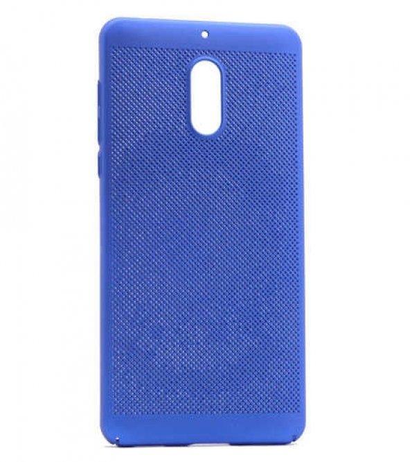 Nokia 3 Kılıf Delikli Rubber Kapak Mavi