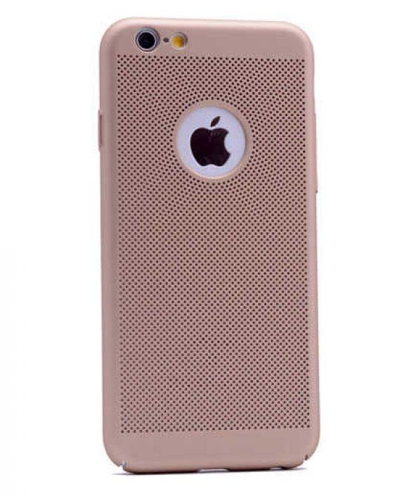 Apple iPhone 6 Kılıf Delikli Rubber Kapak Gold
