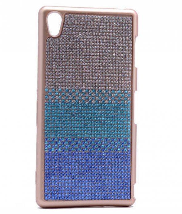 Sony Xperia Z3 Kılıf Mat Lazer Taşlı Silikon Mavi