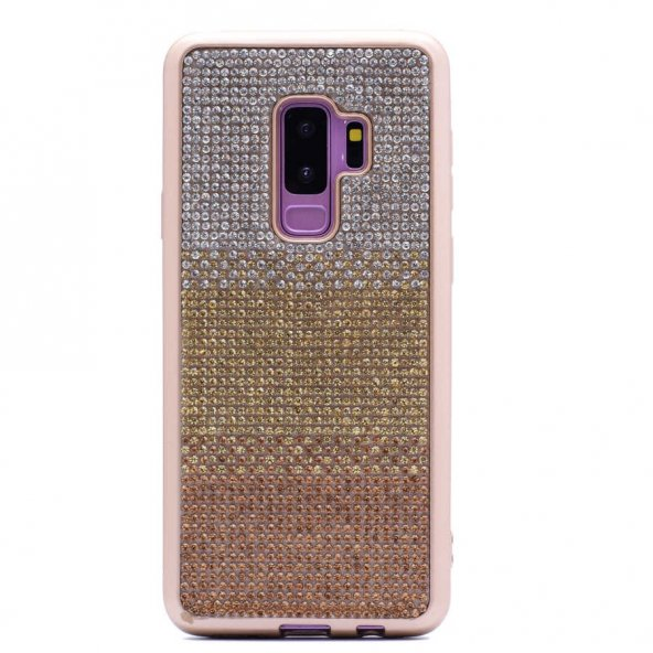 Samsung Galayx S9 Plus Kılıf Mat Lazer Taşlı Silikon Gold
