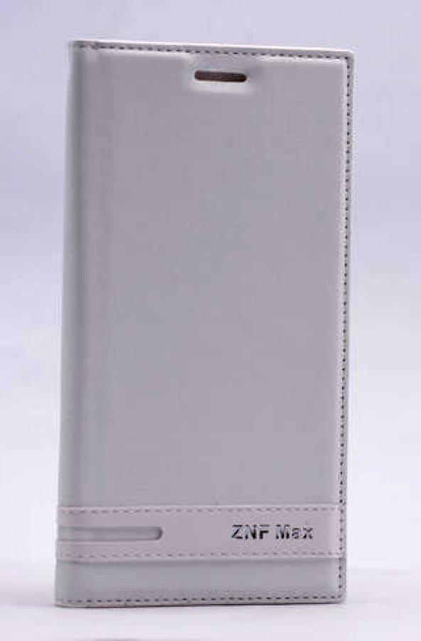 Asus Zenfone Max ZC550KL Kılıf Elite Kapaklı Kılıf Beyaz