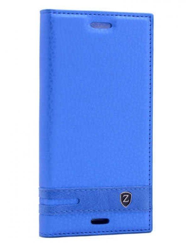 Sony Xperia X Compact Kılıf Elite Kapaklı Kılıf Mavi