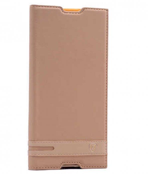 Sony Xperia XA1 Ultra Kılıf Elite Kapaklı Kılıf Gold