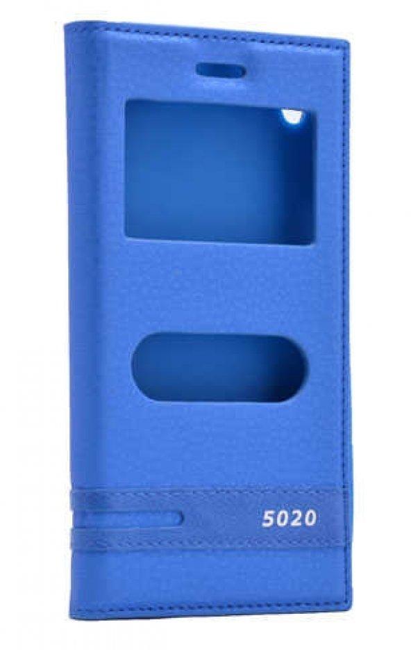 Vestel Venüs V3 5020 Kılıf Elite Kapaklı Kılıf Mavi