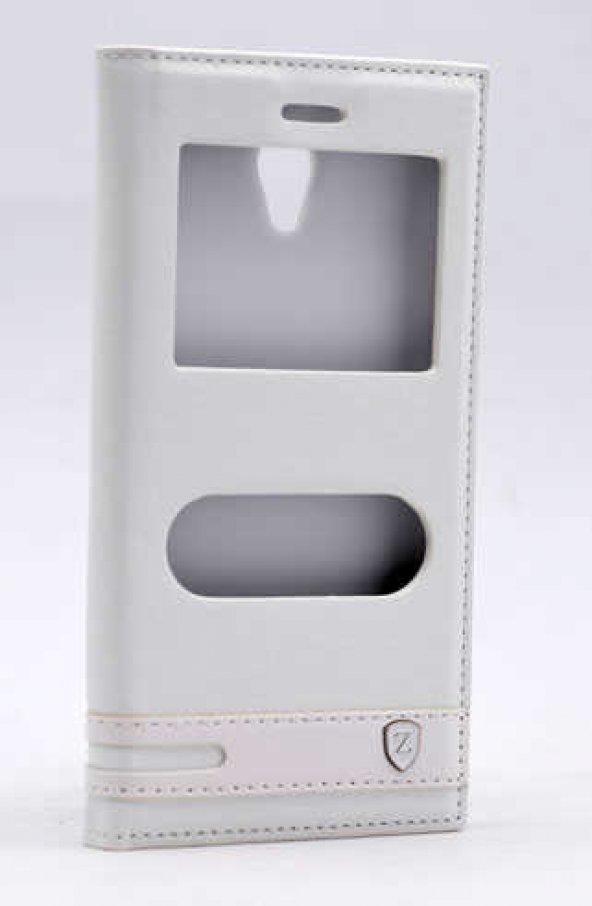 Vodafone Smart 7 Style Kılıf Elite Kapaklı Kılıf Beyaz