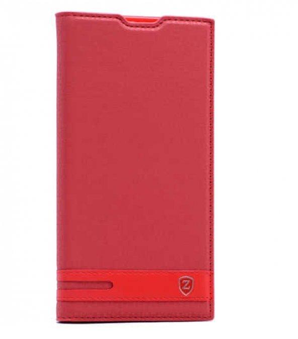 LG V30 Kılıf Elite Kapaklı Kılıf Kırmızı