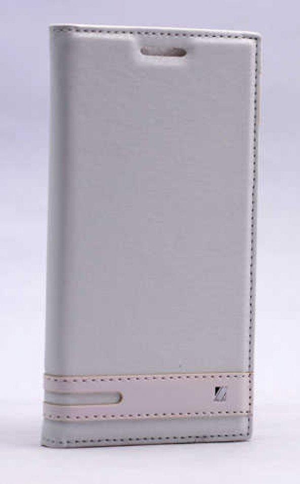 Lenovo A6010 Kılıf Elite Kapaklı Kılıf Beyaz