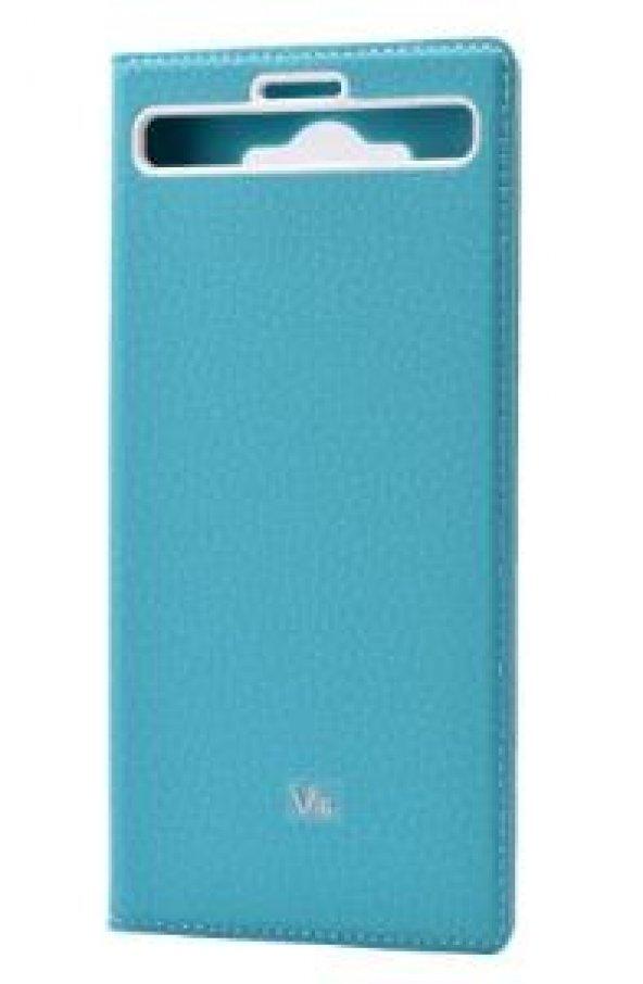 LG V10 Kılıf Dolce Case kapaklı turkuaz